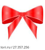 Купить «Red bow on white background», иллюстрация № 27357256 (c) Сергей Лаврентьев / Фотобанк Лори