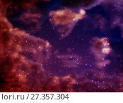 Купить «Vector bright colorful cosmos illustration with stars in the foreground. Bright shining Universe with flickering stars. Novel, mysterious deep space. Abstract cosmic background with stars», иллюстрация № 27357304 (c) Dmitry Domashenko / Фотобанк Лори