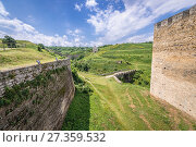 Купить «Walls of Fortress in Khotyn city, located in Chernivtsi Oblast of western Ukraine.», фото № 27359532, снято 13 июня 2017 г. (c) easy Fotostock / Фотобанк Лори
