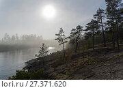 Купить «Солнце светит сквозь густой туман. Ладожские шхеры, Карелия. Начало июня.», фото № 27371620, снято 6 июня 2017 г. (c) Сергей Рыбин / Фотобанк Лори