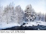 Купить «Зимний пейзаж. Карелия. Россия», фото № 27378532, снято 8 января 2018 г. (c) Наталья Осипова / Фотобанк Лори