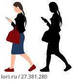 Girl with a phone and a bag. Стоковая иллюстрация, иллюстратор Алексей Беликов / Фотобанк Лори