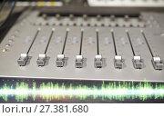 Купить «music mixing console at sound recording studio», фото № 27381680, снято 18 августа 2016 г. (c) Syda Productions / Фотобанк Лори