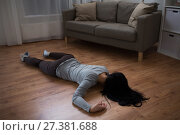 Купить «dead woman body lying on floor at crime scene», фото № 27381688, снято 5 мая 2017 г. (c) Syda Productions / Фотобанк Лори