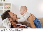 Купить «happy father with little baby boy at home», фото № 27381724, снято 29 сентября 2017 г. (c) Syda Productions / Фотобанк Лори