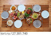 Купить «various food on served wooden table», фото № 27381740, снято 5 октября 2017 г. (c) Syda Productions / Фотобанк Лори