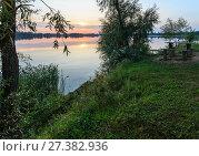 Купить «Sunset summer lake calm shore», фото № 27382936, снято 1 сентября 2017 г. (c) Юрий Брыкайло / Фотобанк Лори