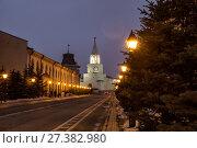 Купить «The Spassky Tower of the Kazan Kremlin», фото № 27382980, снято 2 января 2018 г. (c) Юлия Бабкина / Фотобанк Лори