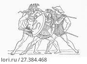 Купить «Hellenic warriors. From Ward and Lock's Illustrated History of the World, published c. 1882.», фото № 27384468, снято 3 июня 2020 г. (c) age Fotostock / Фотобанк Лори