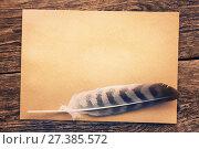 Купить «Перо с бумагой на старом столе», фото № 27385572, снято 20 июля 2018 г. (c) Икан Леонид / Фотобанк Лори