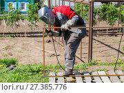 Купить «Welder greenhouse makes outdoors», фото № 27385776, снято 24 мая 2014 г. (c) Евгений Ткачёв / Фотобанк Лори