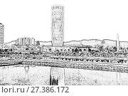Купить «Capital of Adjara - Batumi in the evening. Night view of the building of Justice», иллюстрация № 27386172 (c) Евгений Ткачёв / Фотобанк Лори