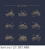 Ships, yachts contour icons. Стоковая иллюстрация, иллюстратор Liliya Mekhonoshina / Фотобанк Лори