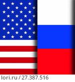 Купить «Флаги США и России», иллюстрация № 27387516 (c) Геннадий Соловьев / Фотобанк Лори
