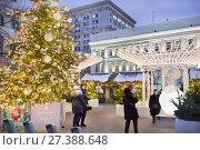 """Купить «Москва, фестиваль """"Путешествие в Рождество"""" 2017-2018. Рождественский базар», фото № 27388648, снято 13 января 2018 г. (c) Victoria Demidova / Фотобанк Лори"""