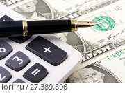 Купить «Бизнес концепция. Деньги, калькулятор и ручка», фото № 27389896, снято 21 июня 2009 г. (c) Александр Гаценко / Фотобанк Лори