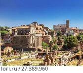 Купить «Вид сверху на руины на Римского форума в Риме. Италия», фото № 27389960, снято 12 сентября 2017 г. (c) Наталья Волкова / Фотобанк Лори