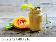 Smoothies pumpkin,celery and bananas with seeds. Стоковое фото, фотограф Марина Сапрунова / Фотобанк Лори