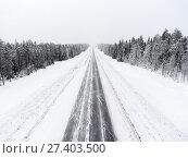 Купить «Прямой участок зимней лесной северной трассы во время метели, пустая дорога», фото № 27403500, снято 10 января 2018 г. (c) Кекяляйнен Андрей / Фотобанк Лори