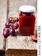 Купить «Jar with jam and grapes», фото № 27408588, снято 29 декабря 2017 г. (c) Елена Блохина / Фотобанк Лори