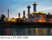 Купить «Sunset view of power plant», фото № 27410188, снято 25 марта 2019 г. (c) Яков Филимонов / Фотобанк Лори