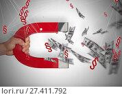 Купить «3D Section Symbol icons with money notes and magnet pull», фото № 27411792, снято 23 сентября 2018 г. (c) Wavebreak Media / Фотобанк Лори