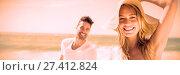 Купить «Smiling couple holding hands», фото № 27412824, снято 18 июля 2018 г. (c) Wavebreak Media / Фотобанк Лори