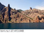 Купить «Вид с моря на Кара-Даг. Крым», фото № 27413848, снято 27 августа 2013 г. (c) Сергей Афанасьев / Фотобанк Лори