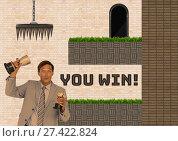 Купить «You Win text and man in Computer Game Level and traps», фото № 27422824, снято 25 апреля 2018 г. (c) Wavebreak Media / Фотобанк Лори