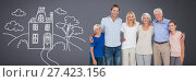 Купить «Family generations together with home drawing», фото № 27423156, снято 19 сентября 2019 г. (c) Wavebreak Media / Фотобанк Лори