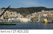 View of Old Port on background with cityscape of Genoa in sunny day (2017 год). Стоковое видео, видеограф Яков Филимонов / Фотобанк Лори