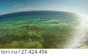 Купить «Aerial view of Bohol coast Island. Aerial. Fisheye view. Philippines. Flight high above the sea.», видеоролик № 27424456, снято 20 января 2018 г. (c) Mikhail Davidovich / Фотобанк Лори