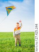 Купить «Young boy playing with his kite in a green field.», фото № 27425244, снято 20 мая 2014 г. (c) Александр Маркин / Фотобанк Лори