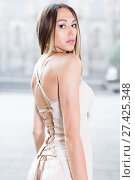 Купить «close-up portrait of young female with long hair in romantic ivory midi gown», фото № 27425348, снято 24 июня 2017 г. (c) Яков Филимонов / Фотобанк Лори