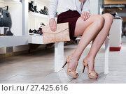 Купить «Close-up photo of female customer who is posing with handbag», фото № 27425616, снято 13 декабря 2017 г. (c) Яков Филимонов / Фотобанк Лори