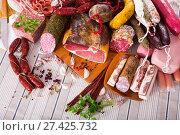 Купить «Variety of meats on table», фото № 27425732, снято 18 октября 2018 г. (c) Яков Филимонов / Фотобанк Лори