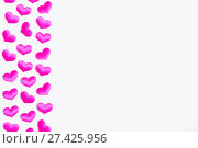 Купить «St Valentines day background. Pink textile hearts on the white wooden background, space for text, Valentines day concept», фото № 27425956, снято 21 января 2018 г. (c) Зезелина Марина / Фотобанк Лори