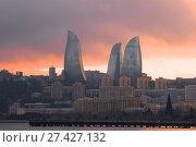 Купить «Пламенные башни в городском пейзаже на закате. Баку, Азербайджан», фото № 27427132, снято 4 января 2018 г. (c) Виктор Карасев / Фотобанк Лори