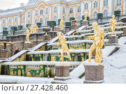 Купить «Winter in Peterhof. Sculptures of the Grand Cascade Fountain  in the snow.», фото № 27428460, снято 22 января 2018 г. (c) Юлия Бабкина / Фотобанк Лори