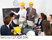 Купить «Positive professionals with laptops and helmets having working meeting», фото № 27428596, снято 7 декабря 2019 г. (c) Яков Филимонов / Фотобанк Лори