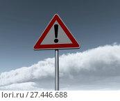 Купить «Verkehrszeichen gefahrenstelle vor wolkenhimmel - 3d illustration», фото № 27446688, снято 9 апреля 2020 г. (c) easy Fotostock / Фотобанк Лори