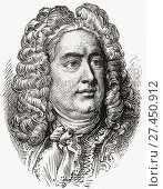 George Frideric or Frederick Handel, 1685 - 1759. German-born British baroque composer. From Ward and Lock's Illustrated History of the World, published c. 1882. Стоковое фото, фотограф Classic Vision / age Fotostock / Фотобанк Лори