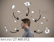 Купить «Man with arrows and thoughts surrounding him», фото № 27460012, снято 22 июля 2019 г. (c) Wavebreak Media / Фотобанк Лори