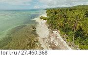 Купить «Aerial view of Bohol coast Island with boats. Aerial. Philippines.», видеоролик № 27460368, снято 21 января 2018 г. (c) Mikhail Davidovich / Фотобанк Лори