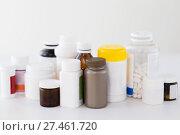 Купить «jars of different medicines», фото № 27461720, снято 27 сентября 2017 г. (c) Syda Productions / Фотобанк Лори