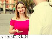 Купить «Young female is flirting with guy», фото № 27464480, снято 18 октября 2017 г. (c) Яков Филимонов / Фотобанк Лори