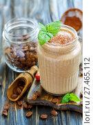 Купить «Invigorating coffee smoothie in a glass jar», фото № 27465112, снято 24 марта 2017 г. (c) Марина Сапрунова / Фотобанк Лори