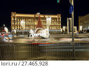 Купить «Christmas (New Year holidays) decoration Lubyanskaya (Lubyanka) Square in the evening, Moscow, Russia», фото № 27465928, снято 9 января 2018 г. (c) Владимир Журавлев / Фотобанк Лори