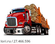Купить «Cartoon logging truck», иллюстрация № 27466596 (c) Александр Володин / Фотобанк Лори