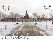 Купить «Город Тула. Пешеходная аллея с видом на башню Ивановских ворот Тульского Кремля морозным днём. Вид из кремля», эксклюзивное фото № 27467512, снято 21 января 2018 г. (c) Игорь Низов / Фотобанк Лори